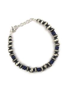 Lapis Silver Bead Bracelet (BR6266)