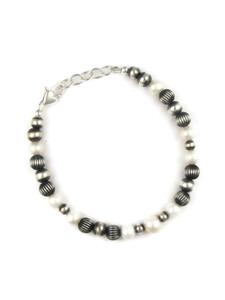 Pearl Silver Bead Bracelet (BR6267)