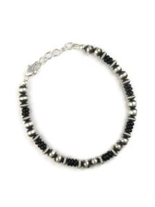 Onyx Silver Bead Bracelet (BR6269)