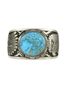 Kingman Turquoise Silver Eagle Dancer Bracelet by Freddy Charley (BR6271)