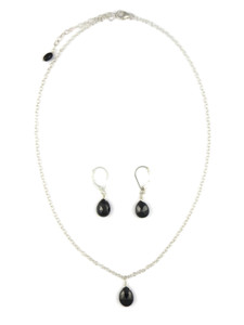 Faceted Onyx Necklace & Earring Set (NK4695)