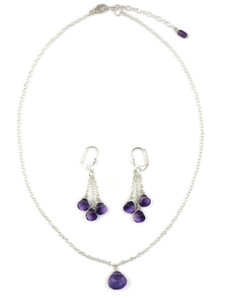 Faceted Amethyst Necklace & Earring Set (NK4696)