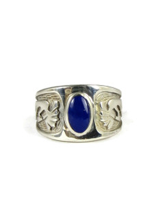 Silver Kokopelli Lapis Ring Size 5 (RG4582)