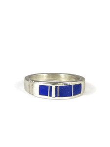 Silver Lapis Inlay Ring Size 6 1/2 (RG4586)