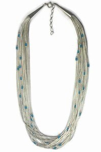 """20 Strand Liquid Silver Turquoise Heishi Necklace - Adjustable Length 16"""" - 18"""" (LSTQ20-16)"""
