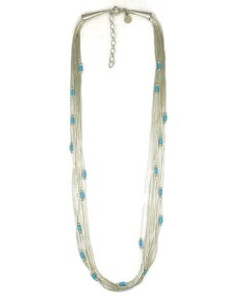 "10 Liquid Silver Turquoise Heishi Necklace - Adjustable Length 16"" - 18"" (LSNK10-16)"