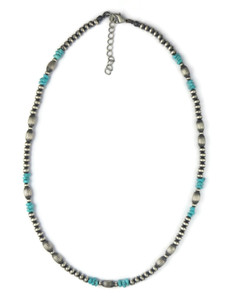 "Turquoise & Silver Bead Necklace 18"" with Extender (NK4698)"
