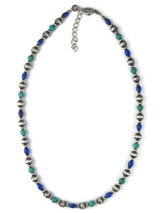 Turquoise & Lapis Silver Bead Necklace (NK4703)