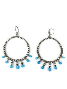 Turquoise Silver Bead Loop Earrings (ER5439)