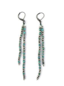 "Turquoise Silver Bead Dangle Earrings 4"" (ER5441)"