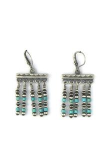 Turquoise Silver Bead Dangle Earrings (ER5442)