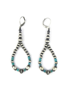Turquoise Silver Bead Loop Earrings (ER5443)