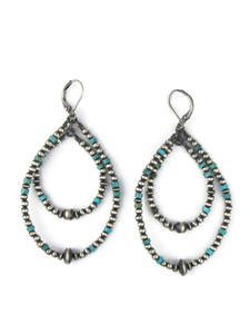 Turquoise Silver Bead Double Loop Earrings (ER5444)