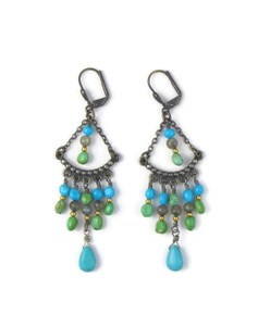 Turquoise Beaded Dangle Earrings (ER5447)