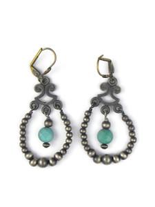 Turquoise Silver Bead Loop Earrings (ER5448)
