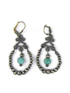 Turquoise Silver Bead Loop Earrings (ER5448)