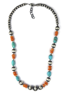 Turquoise, Spiny Oyster Shell Silver Bead Necklace (NK4704)