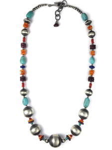 Turquoise & Gemstone Silver Bead Necklace (NK4705)