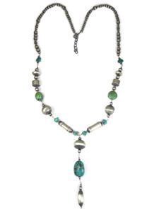Long Turquoise & Silver Bead Necklace (NK4706)