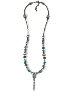 Turquoise Silver Bead Arrow Necklace (NK4708)