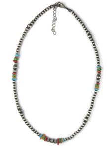 Turquoise & Gemstone Silver Bead Necklace (NK4709)