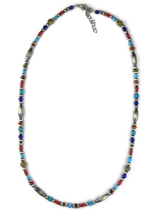 Turquoise & Gemstone Silver Bead Necklace (NK4710)
