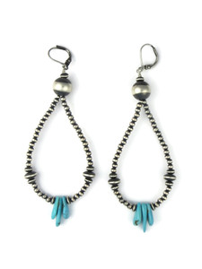 Turquoise & Silver Bead Loop Earrings (ER5450)