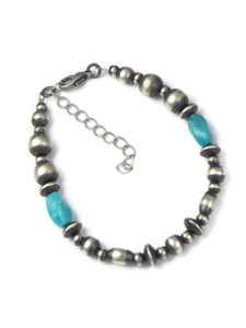 Turquoise Silver Bead Bracelet (BR6286)
