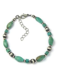 Turquoise Silver Bead Bracelet (BR6287)