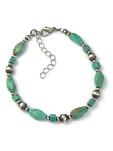 Turquoise Silver Bead Bracelet (BR6287)