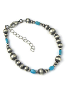 Turquoise Silver Bead Bracelet (BR6289)