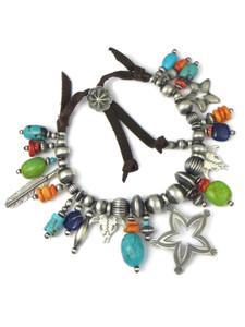 Turquoise & Gemstone Beaded Charm Bracelet (BR6290)