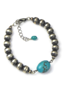 Turquoise & Silver Bead Bracelet (BR6291)