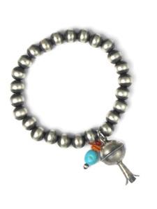 Silver Gemstone & Squash Blossom Bead Charm Bracelet (BR6293)