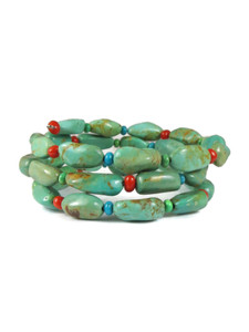 Turquoise & Coral Beaded Wrap Bracelet (BR6295)