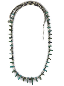 "Turquoise Tab Silver Bead Necklace 33"" with Extender Chain (NK4711)"