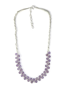 Liquid Silver Amethyst Bead Necklace (LS050-A)