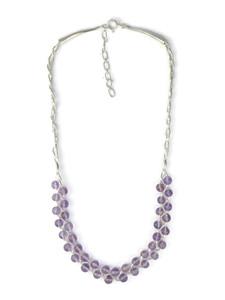 Liquid Silver Amethyst Bead Necklace (LS050-A)