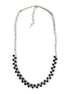 Liquid Silver Onyx Bead Necklace (LS050-O)
