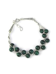 Liquid Silver Malachite Bead Bracelet (LS049-M)