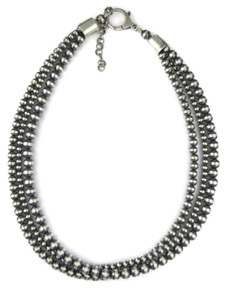 Three Strand Silver Bead Necklace (NK4712)