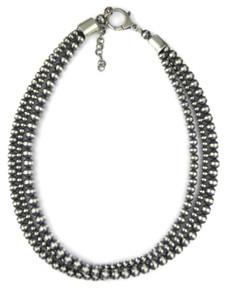 Three Strand Silver Bead Necklace (NK4712)