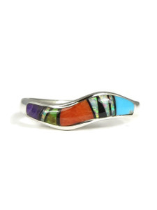 Multi Gemstone Inlay Wave Ring Size 7 1/2