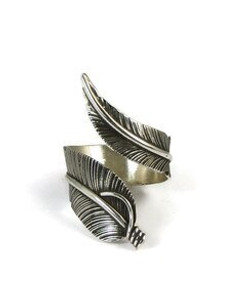 Sterling Silver Wide Feather Wrap Ring Size 12 Adjustable by Lena Platero (RG4376-S12)