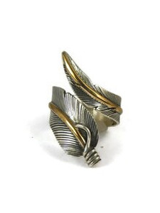 12k Gold & Sterling Silver Wide Feather Wrap Ring Size 13 by Lena Platero