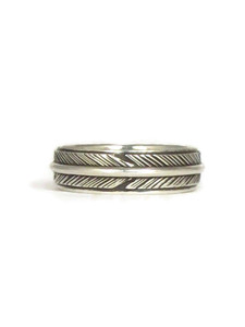 Silver Feather Band Ring Size 8 1/2 (RG8300-S8.5)