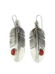 Sterling Silver Coral Feather Earrings by Lena Platero (ER5463)