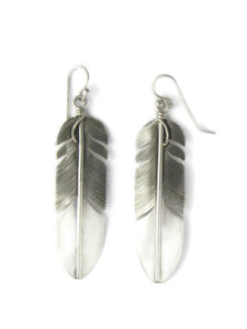 "Sterling Silver Feather Earrings 2 1/2"" by Lena Platero (ER5464)"