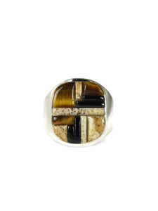 Jasper, Tiger Eye & Jet Inlay Ring Size 12 (RG5077-S12)