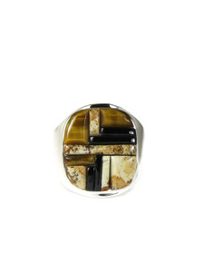 Jasper, Tiger Eye & Jet Inlay Ring Size 11 (RG5077-S11)